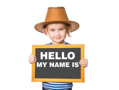 Text HELLO MY NAME IS. - stock photo