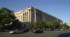 Robert F. Kennedy Department of Justice Building from Constitution Avenue and Stock Footage