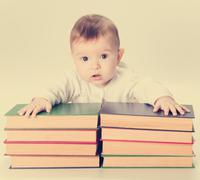 Stock Photo of Baby, infant and Books,