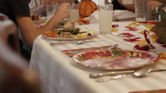 Family Sharing Thanksgiving Meal Together - stock footage