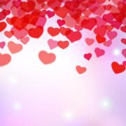 Valentines Day background with scattered blurred tender hearts - stock illustration