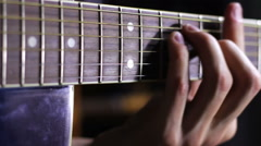 Playing Acoustic Guitar in Studio Stock Footage