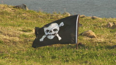 Pirate Flag Flutters in the Wind Stock Footage