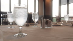 Glass of Water On Dinning Table Stock Footage