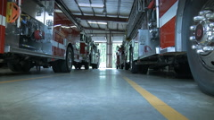 Fire Trucks In Fire Station Stock Footage