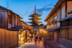 Yasaka pagoda with Kyoto ancient street in Japan - stock photo