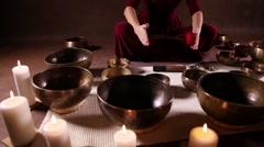 Tibetan bowls dolly shot - stock footage