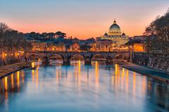 Twilight of the Vatican city State Stock Photos