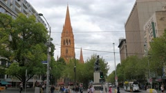 Melbourne city center Stock Footage