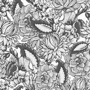 Vintage floral baroque seamless pattern - stock illustration