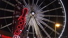 Niagara Skywheel at Night, Niagara Falls, Canada Stock Footage