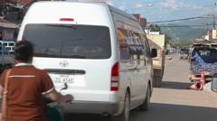 Vang Vieng city traffic, Laos Stock Footage