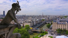 The Gargoyles of the Cathedral of Notre Dame in Paris Stock Footage