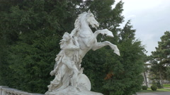 White horse sculpture in Museumsplatz in Vienna Stock Footage