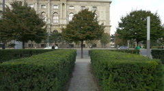 Trees and bushes in Museumsplatz, Vienna Stock Footage