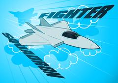 Air force jet fighter squadron in the sky Stock Illustration