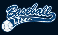 Stock Illustration of Blue baseball league banner with ball