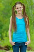 Beautiful smiling teenage girl - stock photo