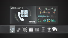 Phone icon for mobile.Various application for smart device. Stock Footage