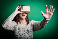 Cardboard virtual reality - stock photo
