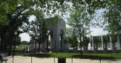 Right pan over World War II Memorial, Washington DC. Shot in May 2012. - stock footage