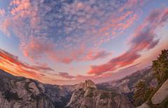 Fisheye lens photo of sunset above Half Dome, Yosemite National Park, USA. Stock Photos
