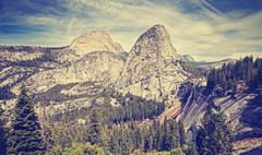 Retro stylized landscape in Yosemite National Park, USA. Stock Photos
