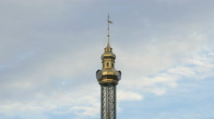 Clock on top of the chain carousel in Prater, Vienna Stock Footage