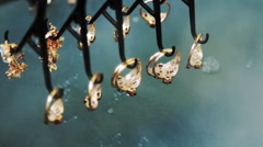 Electrochemical treatment of gold jewelry. Stock Footage
