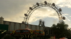 Stock Video Footage of Giant Ferris Wheel on a rainy day in Prater, Vienna