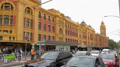 Melbourne Flinders Street tram station Stock Footage
