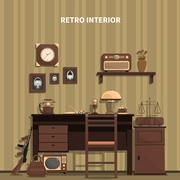 Retro Interior Illustration Stock Illustration