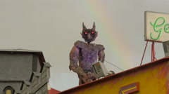 Monster statue on top of the Geister Schloss, in Prater, Vienna Stock Footage
