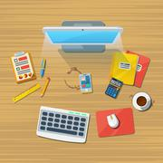 Work Place Office Flat Icon Print Stock Illustration