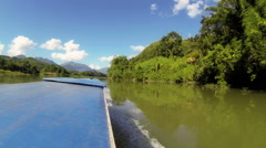 Nam Ou river cruise , view from the roof of slow boat Stock Footage
