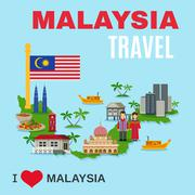 Malaysia Culture Travel Agency Flat Poster Stock Illustration