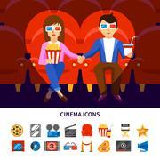 Stock Illustration of Cinema Infographic Set