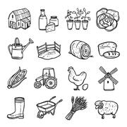 Stock Illustration of Agriculture Black White Icons Set