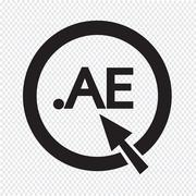 United Arab Emirates Domain dot AE sign icon Illustration - stock illustration