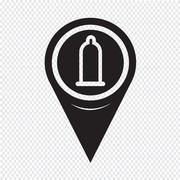 Map Pointer condom icon Stock Illustration