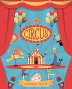 Amazing Circus Show Poster - stock illustration
