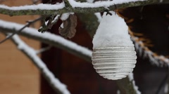 Christmas tree toy with snow  on a tree branch in winter Stock Footage