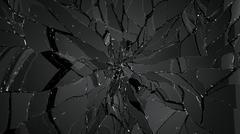 glass splitted or cracked on black - stock illustration