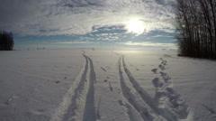 Ski and feet tracks on snow, time lapse 4K Stock Footage