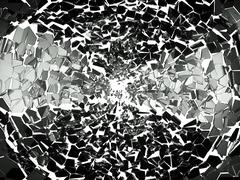 Pieces of splitted or broken glass on white - stock illustration