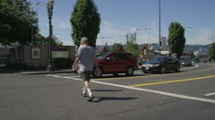 Front view of a Driving Plate: Car turns right from MLK Boulevard in Portland, Stock Footage