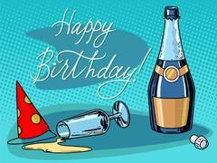 Happy birthday champagne party - stock illustration