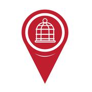Map Pin Pointer bird cage icon - stock illustration