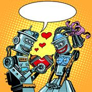 Robots man woman love Valentines day and wedding Stock Illustration
