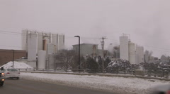 Chemical plant in small town Ontario Stock Footage